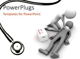 PowerPlugs: PowerPoint template with doctor performing CPR first aid on human with first aid box and stethoscope in background