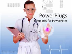 PowerPoint template displaying a doctor with protective shades and bluish background