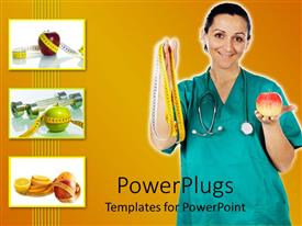 PowerPlugs: PowerPoint template with a doctor showing off an apple and a measuring tape