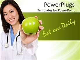 PowerPlugs: PowerPoint template with a doctor showing the apple and words in the background