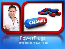 PowerPoint template displaying a doctor showing tablets and a number of capsule sin the other frame