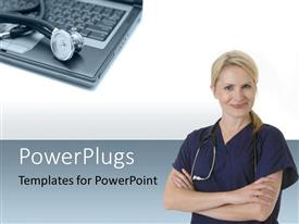 PowerPoint template displaying doctor with stethoscope around neck with stethoscope sitting on laptop