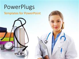 PowerPlugs: PowerPoint template with a doctor with a stethoscope and books in the background