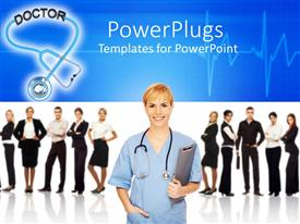 PowerPoint template displaying doctor with stethoscope and clip board, business people in background, health care management, hospital administration, medical IT