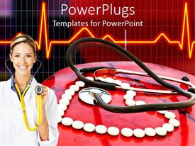 PowerPlugs: PowerPoint template with doctor with stethoscope in front of white pills arranged in heart shape