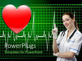 PowerPlugs: PowerPoint template with a doctor with a stethoscope and a heart in background
