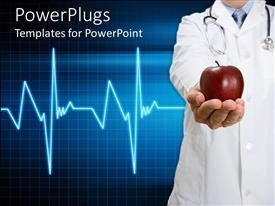 PowerPlugs: PowerPoint template with doctor with stethoscope offering hand with apple and heartbeat line on blue squared background