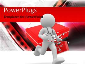 PowerPlugs: PowerPoint template with doctor with stethoscope rushing to patient with first aid box