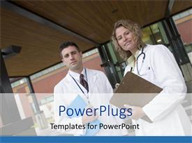 PowerPoint template displaying doctor woman and man with stethoscope, patients record file in front of hospital