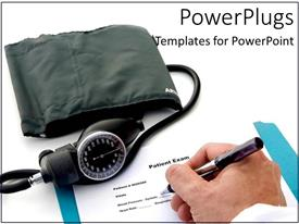 PowerPoint template displaying a doctor writing the prescription for the patient along with checking blood pressure