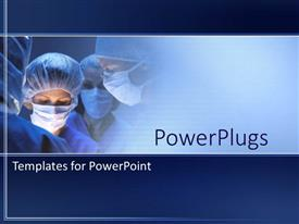PowerPlugs: PowerPoint template with doctors during surgery in operation room in hospital on a blue background