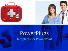 PowerPlugs: PowerPoint template with doctors with stethoscope and medicines depicting medical concept with pills