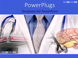 PowerPoint template displaying a doctor's uniform with the digestive system