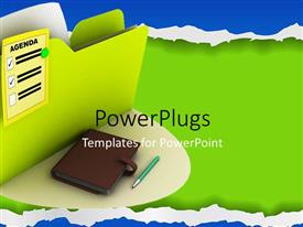 PowerPlugs: PowerPoint template with the document with agenda written on it along with a diary and a pen