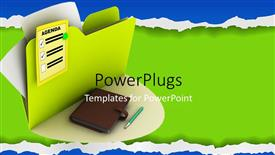 PowerPoint template displaying the document with agenda written on it along with a diary and a pen