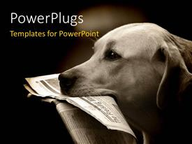 PowerPlugs: PowerPoint template with a dog holding the newspaper in its mouth