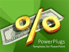 PowerPlugs: PowerPoint template with dollar bill with a big gold colored % symbol on top