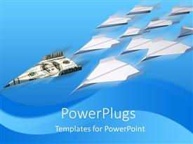 PowerPoint template displaying dollar bill paper plane followed by many blank paper planes