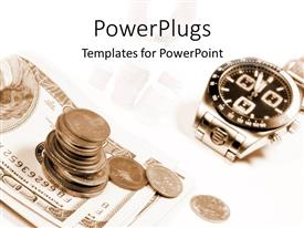 PowerPoint template displaying dollar bills and coins beside a watch on a white background
