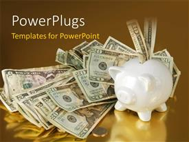 PowerPlugs: PowerPoint template with dollar bills and coins on reflective surface with piggy bank