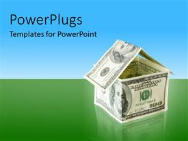 PowerPlugs: PowerPoint template with some dollar bills forming a house on a green and blue background