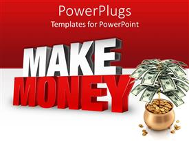 PowerPlugs: PowerPoint template with dollar bills with pot of gold coins on red and white background