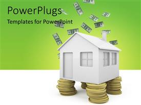 PowerPlugs: PowerPoint template with dollar bills raining on 3D house and gold coins as house pillar