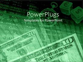 PowerPoint template displaying dollar bills with a timer and two currency dice