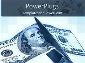 PowerPlugs: PowerPoint template with a dollar note being cut from the middle