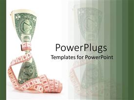 PowerPlugs: PowerPoint template with the dollar note is being tied from the middle by a measuring tape