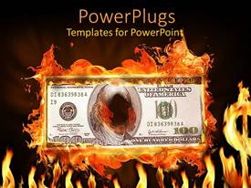 PowerPlugs: PowerPoint template with a dollar note on fire with black background