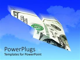 PowerPlugs: PowerPoint template with the dollar note in form of an airplane