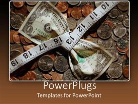 PowerPlugs: PowerPoint template with a dollar note with measuring tape and coins in the background