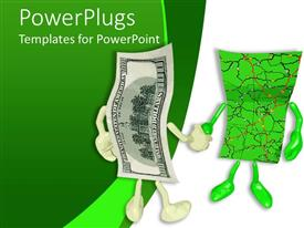 PowerPlugs: PowerPoint template with a dollar note shaking its hand with another one