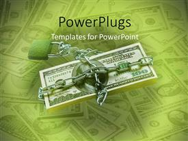 PowerPlugs: PowerPoint template with a dollar note with a stainless steel chain with a number of notes in background