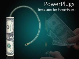 PowerPlugs: PowerPoint template with dollar shaped like firecracker about to be lit on fire, bang for your buck metapor