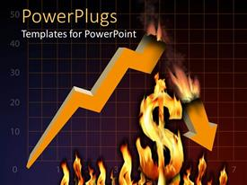 PowerPoint template displaying a dollar sign being burnt with a graph in the background