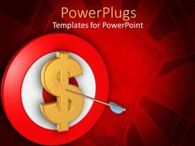 PowerPlugs: PowerPoint template with a dollar sign with a dart in it and a red and white dart board