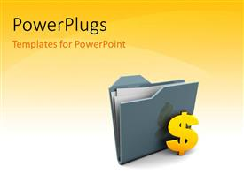 PowerPlugs: PowerPoint template with dollar sign with grey color folder icon