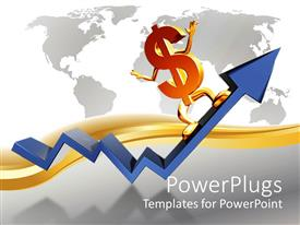 PowerPlugs: PowerPoint template with the dollar sign on the growth arrow