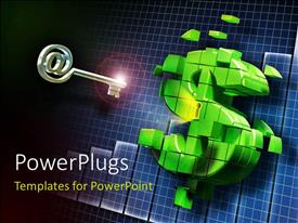 PowerPlugs: PowerPoint template with a dollar sign with a key in the background