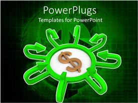 PowerPlugs: PowerPoint template with dollar sign in the middle of a center with green arrows pointing to it