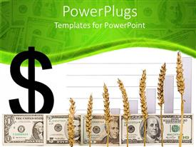 PowerPlugs: PowerPoint template with dollar sign with US paper bill currency and wheat grain