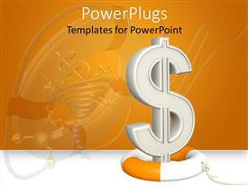 PowerPlugs: PowerPoint template with a dollar sign with the reflection in the background