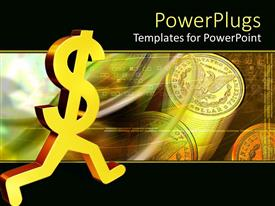 PowerPlugs: PowerPoint template with a dollar sign running with dollar coins in the background