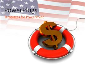 PowerPlugs: PowerPoint template with a dollar sign with a white background and an American flag