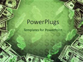 PowerPlugs: PowerPoint template with dollar signs and dollar bills in green background
