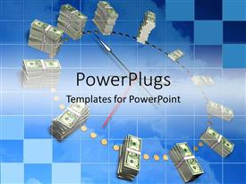 PowerPoint template displaying dollar stacks represent numbers on analog clock