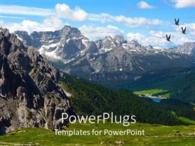 PowerPoint template displaying dolomite mountains with birds soaring high and green vegetation