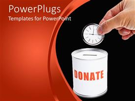 PowerPlugs: PowerPoint template with donating time metaphor with hand dropping clock into donation can